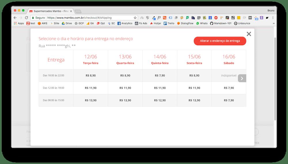 Custo de entrega no Mambo.com.br